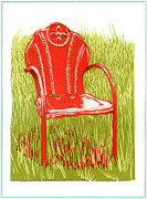 Chair Mixed Media Originals - American vintage red metal lawn chair by David Esslemont