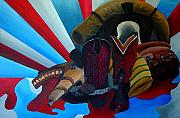 Red White And Blue Paintings - American Way by Karen Rester