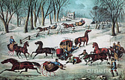 Horse And Buggy Framed Prints - American Winter, 1870 Framed Print by Photo Researchers