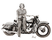 Antique Harley Davidson Framed Prints - American Woman Framed Print by Ferrel Cordle