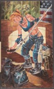 Hockey Player Painting Originals - American Women of the New Millennium - Bold Perseverance 4 by Cathi Locati
