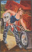 Danica Patrick Paintings - American Women of the New Millennium - Driven Determination 1 by Cathi Locati