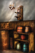 Pails Prints - Americana -  In the corner of the General Store  Print by Mike Savad