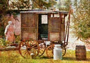 Cart Posters - Americana - The Milk and Egg wagon  Poster by Mike Savad