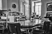 Table And Chairs Framed Prints - Americana - 1950 Kitchen - 1950s - retro kitchen Black and White Framed Print by Paul Ward