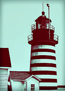 Turquoise And Rust Posters - Americana Lighthouse Poster by Tony Grider