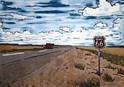 Asphalt Paintings - Americana No.1 Route 66 No. 6 by Sheri Parris