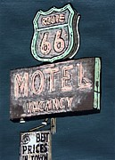 Light Gray Turquoise Posters - Americana No.9 Route 66 No.2 Poster by Sheri Parris