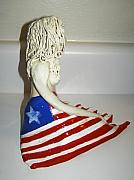 American Flag Ceramics - Americana side view by Sandi Floyd