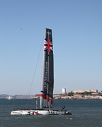 Alcatraz Art - Americas Cup in San Francisco - Great Britain Ben Ainslie Racing Sailboat - 5D18233 by Wingsdomain Art and Photography