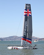 J.p. Photo Prints - Americas Cup in San Francisco - Great Britain Ben Ainslie Racing Sailboat - 5D18248 Print by Wingsdomain Art and Photography
