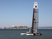 Alcatraz Art - Americas Cup in San Francisco - Korea White Tiger Sailboat - 5D18212 by Wingsdomain Art and Photography
