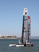 Alcatraz Art - Americas Cup in San Francisco - Korea White Tiger Sailboat - 5D18213 by Wingsdomain Art and Photography