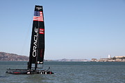 Alcatraz Art - Americas Cup in San Francisco - Oracle Team USA 4 Sailboat - 5D18215 by Wingsdomain Art and Photography
