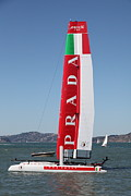 Sails Prints - Americas Cup in San Francisco - Italy Luna Rossa Paranha Sailboat - 5D18216 Print by Wingsdomain Art and Photography