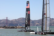 Sails Prints - Americas Cup Racing Sailboats in The San Francisco Bay - 5D18242 Print by Wingsdomain Art and Photography