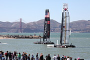 Bayarea Metal Prints - Americas Cup Racing Sailboats in The San Francisco Bay - 5D18253 Metal Print by Wingsdomain Art and Photography