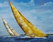 Sailing Paintings - Americas Cup Sailboats by Impressionism Modern and Contemporary Art  By Gregory A Page