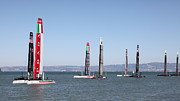 Boat Prints - Americas Cup Sailboats in San Francisco - 5D18205 Print by Wingsdomain Art and Photography