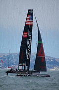 San Francisco Bay Mixed Media Posters - Americas Cup World Series - Oracle-Spithall Poster by Michael Meinberg