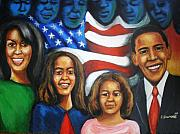 Michelle Obama Painting Prints - Americas First Family Print by Jan Gilmore