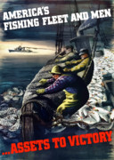 Fisherman Digital Art Prints - Americas Fishing Fleet And Men  Print by War Is Hell Store