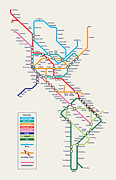 World Map Digital Art Posters - Americas Metro Map Poster by Michael Tompsett