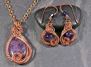 Jordan Jewelry - Amethyst and Copper Swish Set by Heather Jordan