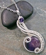 Wire-wrapped Jewelry Originals - Amethyst and Swarovski Crystal  by Heather Jordan