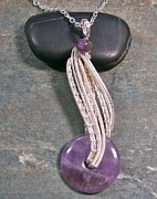 Futuristic Jewelry - Amethyst Donut Wave Pendant by Heather Jordan