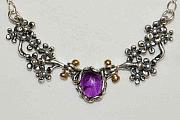 Organic Jewelry - Amethyst Flower Necklace by Ronald Peckham