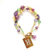 Freshwater Pearls Jewelry Originals - Amethyst Green Purple Yellow Freshwater Pearl and Crystal 2 Strand Bracelet by Janine Antulov