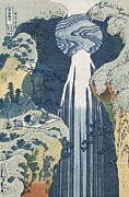 Woodblock Posters - Amida Waterfall Poster by Hokusai