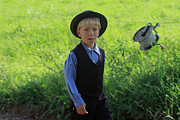 Boy Digital Art Originals - Amish Boy by Dennis Pintoski