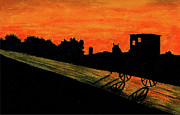 Amish Painting Framed Prints - Amish Buggy at Sunset Framed Print by Michael Vigliotti