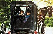 Amish Buggy Print by Linda Crockett