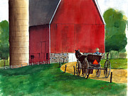 Amish Buggy Paintings - Amish Country by John Countway