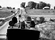Country Scenes Prints - Amish Family Outing Print by Julie Dant