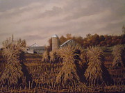 Amish Farm In Autumn Print by James Guentner