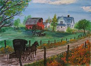 Amish Buggy Paintings - Amish Farm by Sharon Woods