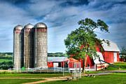 Red Barn Prints Posters - Amish Farmstead Poster by Steven Ainsworth