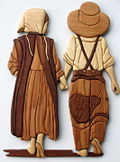 Intarsia Sculpture Posters - Amish friends Poster by Bill Fugerer