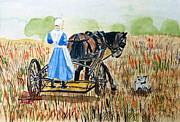 Amish Buggy Paintings - Amish Girl with Buggy by Arlene  Wright-Correll