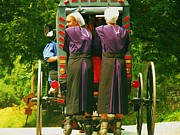 Amish Buggy Photos - Amish Girls on Roller Blades by Jeanette Oberholtzer