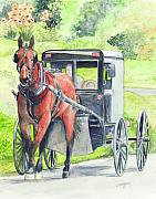 Amish Prints - Amish Horse and buggy Print by Morgan Fitzsimons