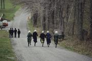 Dirt Roads Photo Prints - Amish People Visiting Middle Creek Print by Ira Block