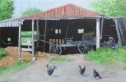 Amish Buggy Paintings - Amish Shed by Joseph Stevenson