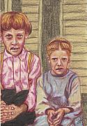 Amish Drawings Framed Prints - Amish Siblings Framed Print by Jean Haynes
