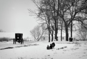 Amish Photos - Amish Sled Ride by David Arment