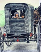 Amish Drawings Framed Prints - Amish Wagon Framed Print by Sam Vega
